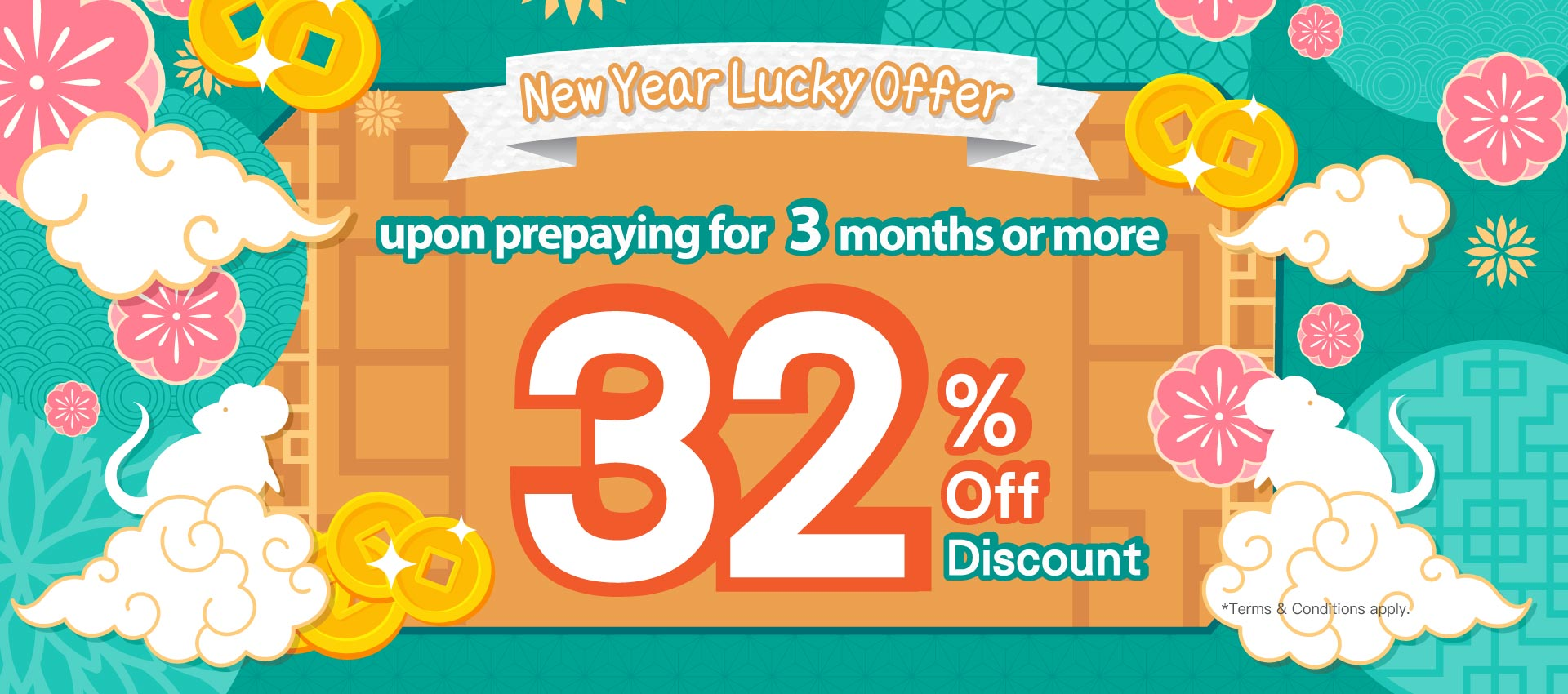 enjoy a 32% off discount at any branch upon prepaying for 3 months or more!